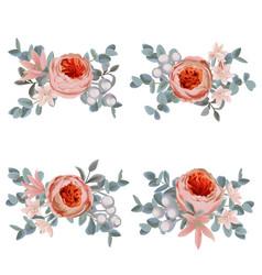 flowers and greenery bouquets floral set vector image