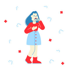 Flu and sickness concept diseased woman coughing vector
