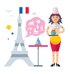 french cuisine woman chef flat style colorful vector image