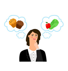 girl chooses between unhealthy and healthy food vector image