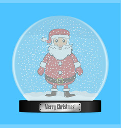 glass snow globe with santa claus inside vector image