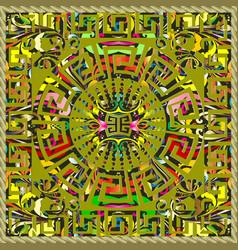 greek 3d panel design meander colorful mandala vector image
