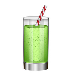 Green smoothie in glass mockup realistic style vector