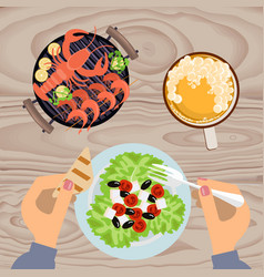 grilled sea food with beer vector image
