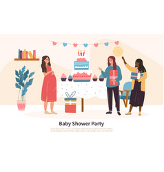 group friends attending a baby shower vector image