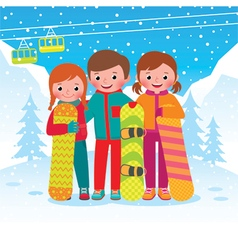 Group of children snowboarders vector