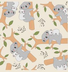 Hand drawing cute koalas seamless print design vector