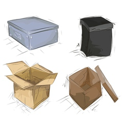 hand drawn boxes vector image
