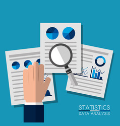 Hand with paper research chart pie information vector