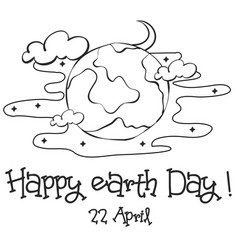 Happy earth day sketch hand draw vector
