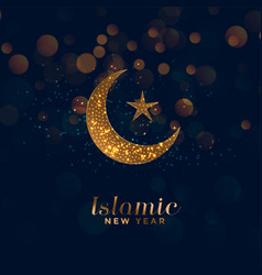 Happy islamic new year background with moon and vector