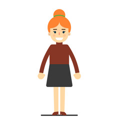happy redhead business woman in blouse and skirt vector image