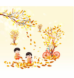 Hello autumn funny kids of a forest in autumn vector
