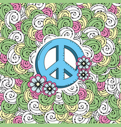 hippie emblem symbol with ornamental design vector image
