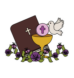 Holy bible with chalice and flowers vector