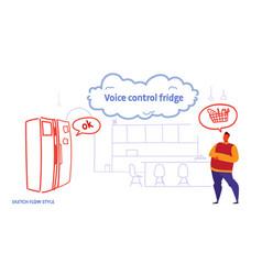 Home fridge controlled by man smart tech vector