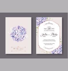 hydrangea flowers wedding invitation vector image