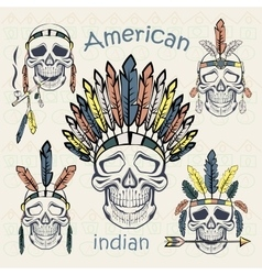 Indians set skulls with different headdresses vector