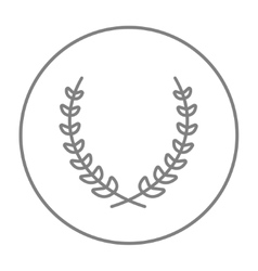 Laurel wreath line icon vector image
