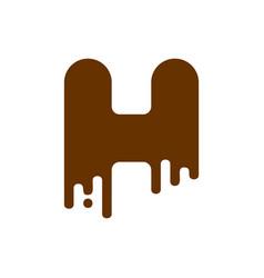 letter h chocolate font sweetness alphabet liquid vector image