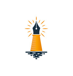 lighthouse and fountain pen logo design vector image