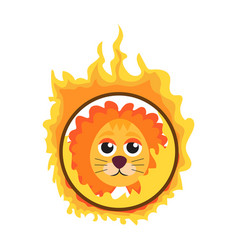 lion jumping through a ring of fire in the circus vector image