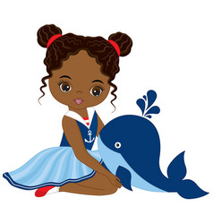 Little african american girl with whale vector