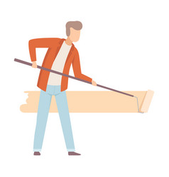 Man painter the wall with roller in beige flat vector