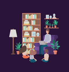 man with children in living room avatar character vector image