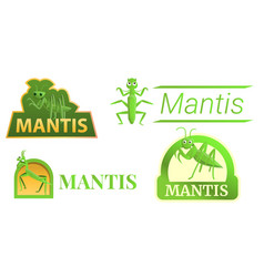 Mantis logo set cartoon style vector