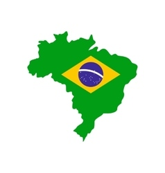 Map of Brazil with the image of the national flag vector image