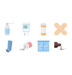 Medicine and treatment icons in set collection for vector