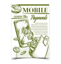 mobile payments financial advertise banner vector image