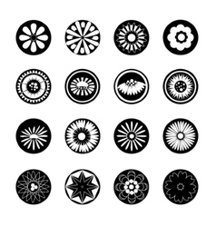 Monochrome set of flowers vector image