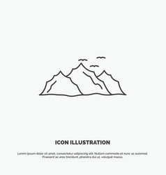mountain landscape hill nature birds icon line vector image