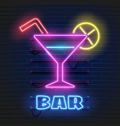 neon cocktails bar sign on dark brick wall vector image