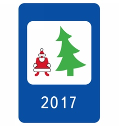 New year greeting card stylised as a road sign vector