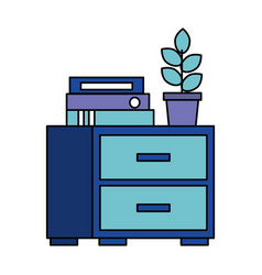 Office cabinet binders potted plant vector