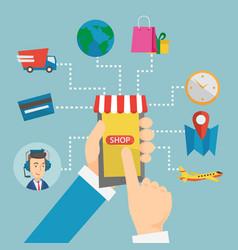 online shopping flat design vector image
