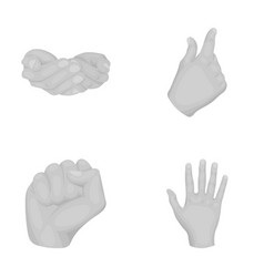 Palms fist hand brush hand gestures set vector