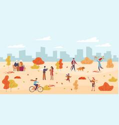 people in autumn park men and women vector image