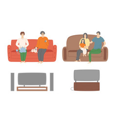 people relaxing at home watching tv shows set vector image