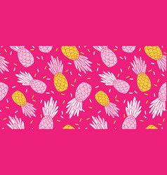 Pink yellow pineapples repeat pattern design vector