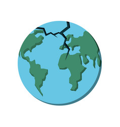 Planet earth break icon vector