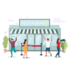 Restaurant grand opening concept for web vector