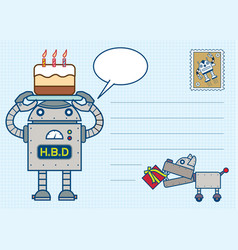 robot happy birth day postcard vector image