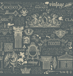 seamless pattern with drawings in vintage style vector image