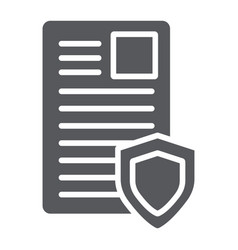Security document glyph icon privacy and paper vector