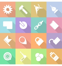 Set flat technology icons with shadow vector image vector image