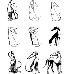 set logo dog sketch vector image